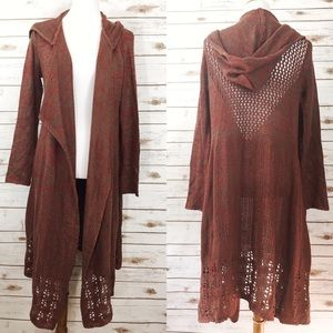 Cecico Open Weave Hoodie Duster Sweater